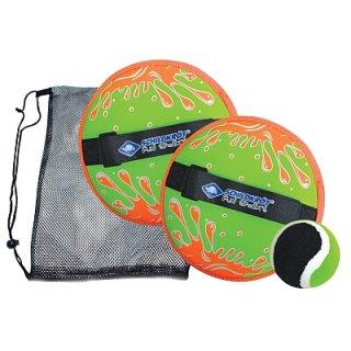 SCHILDKRÖT®  Neopren Klettball Set, 2 Neopren Handfänger mit weitenverstellbarer Handschlaufe, 1 Ball (Ø6,25 cm)