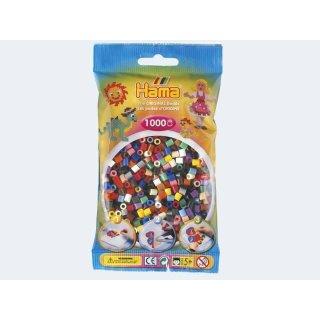 1 Hama Perlen Beutel 1000 Stück Vollton Farben gemischt