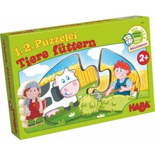 HABA 1,2,Puzzelei Tiere füttern