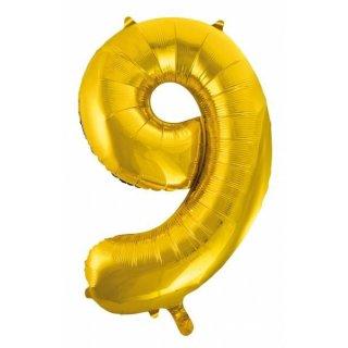 Folienballon 9 gold 65x105cm