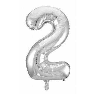 Folienballon 2 silber, 55x110cm