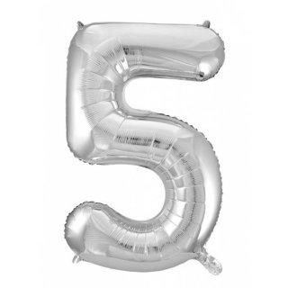 Folienballon 5 silber, 60x110cm