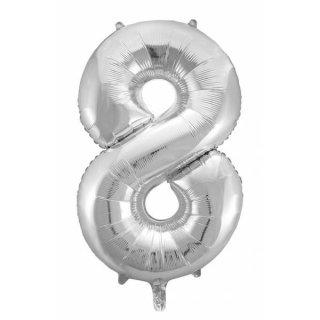 Folienballon 8 silber, 65x115cm