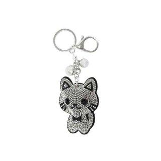 Schlüsselanhänger Strass Katze mit Schleife