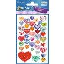 Z Design Creative Papier Sticker Herzen glitzernd 1 Bogen
