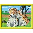 1 Malen nach Zahlen Bild 24x18cm Kleine Leoparden