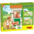 1 HABA Puzzles Bauernhoftierkinder 3 Motive