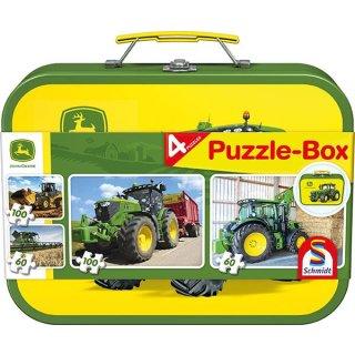 John Deere Puzzlebox  2x60 Teile und 2x100 Teile im Metallkoffer