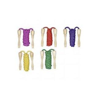 Goki Springseil mit Holzgriffen zum Aufschrauben, farbig