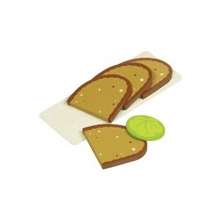 Brotscheiben, 4 Scheiben, 1 Salatblatt aus Holz