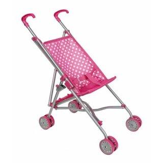 Puppenbuggy Pink zusammenklappbar Schiebehöhe 55cm